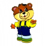 Soft 3D Sticker; Teddy Bear with Overalls / 8 x 6cm