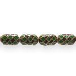 Värvilised, maalitud ovaalsed lapikud cloisonne metallhelmed 14,5x9x6,5mm