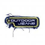 """Triigitav Aplikatsioon; Teksariidest kandiline, aplikatsioon kirjaga """"Outdoor jeans""""/ Embroidered Iron-On Patch 7,5x2,5cm"""