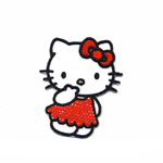 Embroidered Iron-On Patch; Hello Kitty in Dress / 6 x 4,5cm