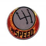 Triigitav Aplikatsioon; Käiguvahetus, `Hy Speed` / Embroidered Iron-On Patch / 6,5cm