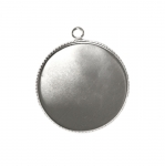 Round Pendant Base with Zig-Zag Edge / 29x26mm