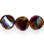 Ümarad lapikud tahulised klaashelmed segatud värvitoonidega 18x8mm