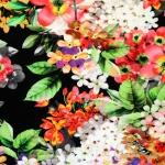 Suuremõõdulise lille- ja linnumustriga , veniv puuvillasegu kangas 4841 150cm, Stenzo textiles