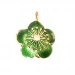 Värvilised, maalitud lillekujulised lapikud cloisonne metallhelmed/ripatsid 25x21x8mm