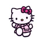 Embroidered Iron-On Patch; Hello Kitty with Pink Dress / 6,5 x 5,5cm