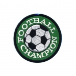Embroidered Iron-On Patch; Football, `Football Champion` / 7cm