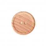 Naturaalne, lakitud puitnööp, kahe auguga, läbimõõduga 24mm/37L