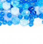 Pärlisegu Sinakates toonides lillekujulistest pärlitest 4-8mm, 100/50g pakk