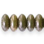 Lapik ümara vormiga graveeritud mustriga riputis/helmes  CCB plastikust 14x8mm