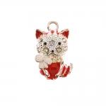 Kiisu ja liblikaga, metallist riputis / Ornamental Jewelery Spacer / 22x12mm