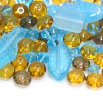 Pärlisegu Sinistes, kollakaspruunikates toonides, erikujulistest pärlitest 5-30mm, 100/50g pakk