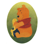 Embroidered Iron-On Patch; Winnie the Pooh Eating Honey / 10 x 8cm