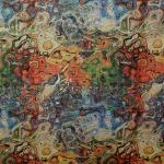 Õlimaali mustriga, dekoratiivne, linasegu kangas, 160cm, 02C34