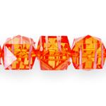 Kandilised  tahulised klaasjad akrüülhelmed valgete maalitud triipudega 14mm