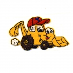 Embroidered Iron-On Patch; Yellow Construction Vehicle / 8 x 4,5cm