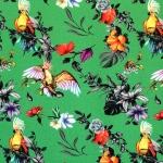 Papagoide ja troopiliste lilledega, veniv, puuvillane kangas, Megan Blue Fabrics 007540, 150cm/190g