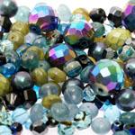 Pärlisegu Sinakas-hallikas-rohekates toonides eri suurusega pärlitest 5-20mm, 100/50g pakk