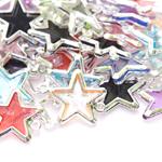 Plastikust vahedetail/riputis kahelt poolt aasaga / Silver Plastic Star Charm / 20 x 15mm