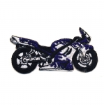 Embroidered Iron-On Patch; Purple Motorcycle / 7 x 4cm