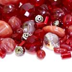 Pärlisegu Tumepunakates toonides eri suurusega  erikujulistest pärlitest 5-16mm, 100/50g pakk