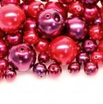 Pärlisegu tumepunastes pärlmuttertoonides ümaratest pärlitest 4-12mm, 100/50g pakk