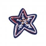 Triigitav Aplikatsioon;Teksariidest täheke, puupärlitega/ Embroidered Iron-On Patch; Star 7cm