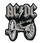 Embroidered Iron-On Patch; Cannon, `ACDC` / 10 x 8,3cm