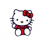 Triigitav Aplikatsioon; Hello Kitty / Embroidered Iron-On Patch; Hello Kitty 6,5x5,5cm
