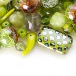 Pärlisegu Rohelistes toonides, pärlitest 5-25mm, 100/50g pakk
