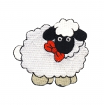 Embroidered Iron-On Patch; Sheep with Red Bow / 7 x 6cm