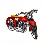 Triigitav Aplikatsioon; Mootorratas / Embroidered Iron-On Patch; Motorcycle / 10 x 7cm