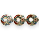 Värvilised, maalitud ümarad lapikud  seest auguga cloisonne metallhelmed 16x6mm