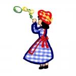 Triigitav Aplikatsioon; Mullitaja tüdruk/ Embroidered Iron-On Patch; Little girl with bubbles / 12,5x6,5cm