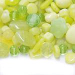 Pärlisegu Kollakas rohekates toonides eri suurusega pärlitest 5-20mm, 100/50g pakk