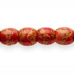 Ümarad dekoreeritud aafrikapärase mustriga puithelmed 16x15mm