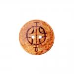 Naturaalne kookosnööp, lakitud pinnaga, arhailise mustriga keskelt kausjas 36mm, 54L