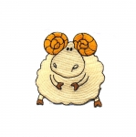 Embroidered Iron-On Patch; Cute Ram / 6,5cm