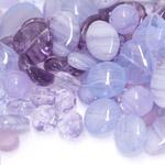 Pärlisegu lillakatest erikujulistest pärlitest 6-17mm, 100/50g pakk