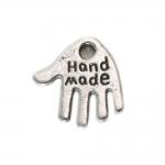 Käekujuline metallist riputis `Handmade` / 12 x 12 x 1mm