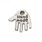 Käekujuline metallist riputis `Handmade` / Hand Charm with `Handmade` Text / 12 x 12 x 1mm