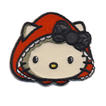 Embroidered Iron-On Patch; Hello Kitty Little Red Riding Hood Face / 5,5 x 4,8cm