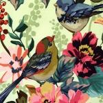 Suuremõõdulise lille- ja linnumustriga , veniv puuvillasegu kangas 4851-10 150cm, Stenzo textiles