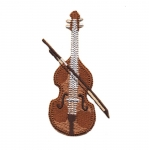 Triigitav Aplikatsioon; Viiul / Embroidered Iron-On Patch; Violin / 8,5 x 4cm