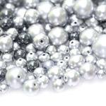 Pärlisegu Hõbedastes toonides eri suurusega pärlitest 5-20mm, 100/50g pakk