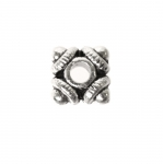 Lapik, ruudukujuline, antiikse mustriga ehte vahedetail / Ornamental Jewelery Spacer with Dotted Pattern / 7x3mm
