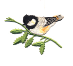 Triigitav Aplikatsioon; Rasvatihane oksakesega / Embroidered Iron-On Patch; Bird on Twig / 6,5 x 5cm