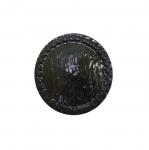Metallist, must, reljeefse mustriga, nööp 22mm, 34L