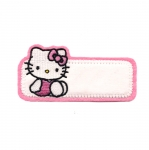 Triigitav Aplikatsioon; Hello Kitty koos nimesildiga / Embroidered Iron-On Patch; Hello Kitty with Bow / 8,5x4cm