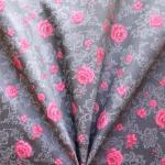 Satiin, luksuslik puuvillane kangas kerge läikega, roosimustriga, 148cm, TM2001